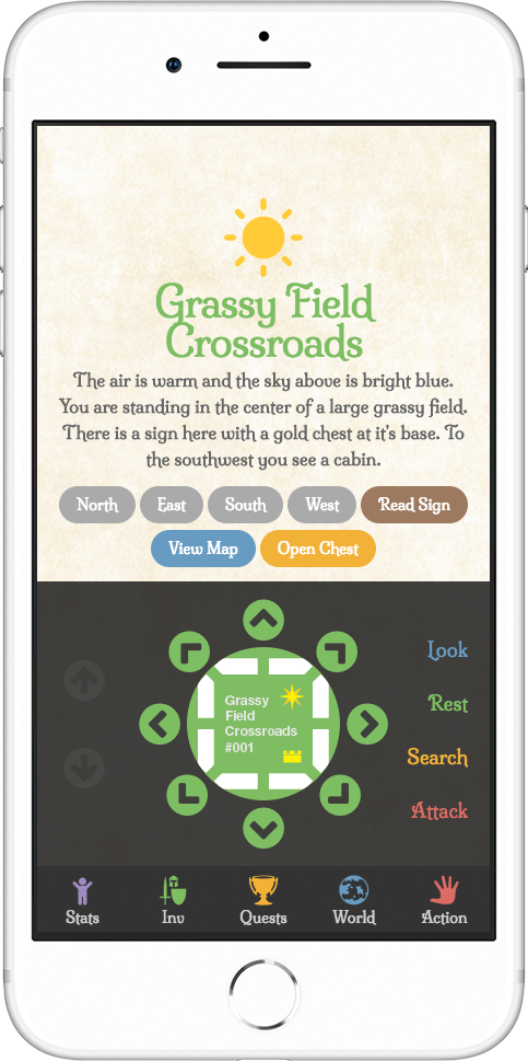 light gray rpg demo mobile grassy field crossroads screenshot