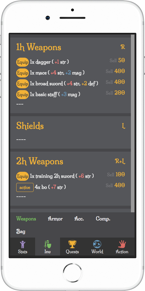 light gray rpg demo mobile inventory screenshot