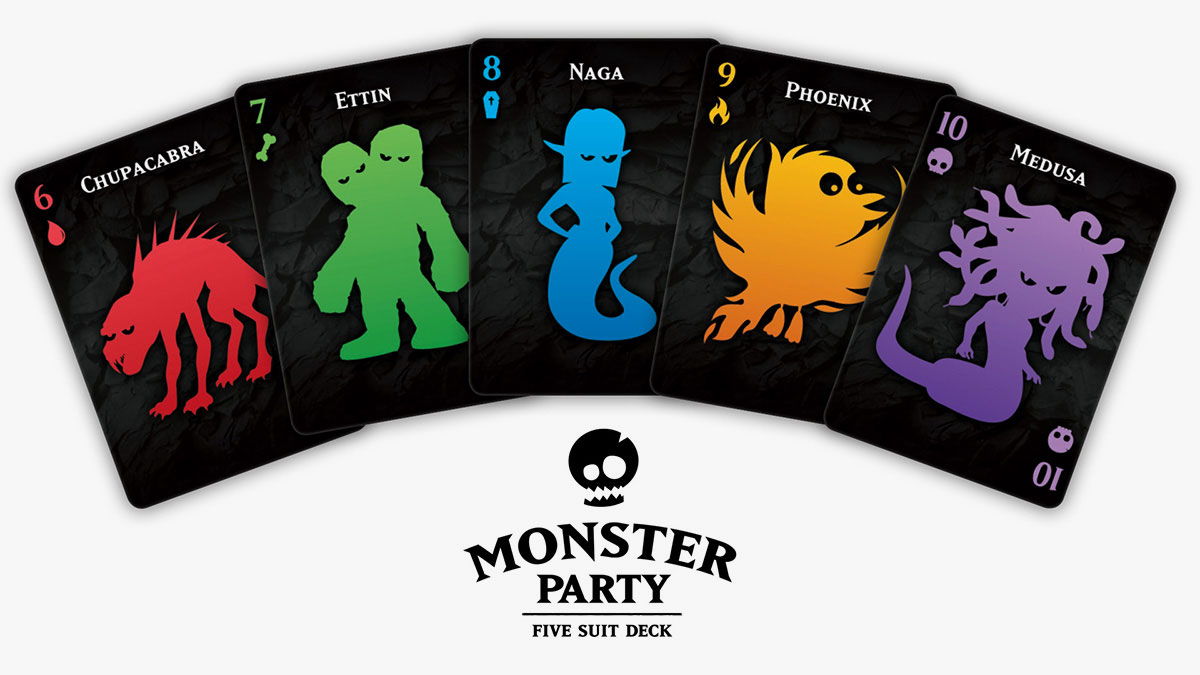 Monster Party Playing Cards - Five Suit Deck Spread