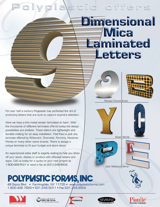 PolyPlastic Forms - 3D Laminate Letters